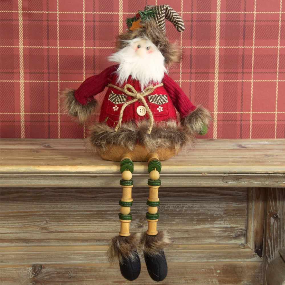 Sitting Santa Fabric Christmas Decoration Ornament Traditional Father Christmas